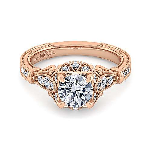 Gabriel - Vintage 14K Rose Gold Halo Diamond Engagement Ring