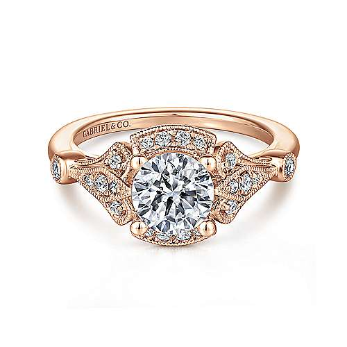 Vintage 14K Rose Gold Halo Diamond Engagement Ring