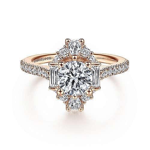 Vintage 14K Rose Gold Halo Diamond Engagement Ring