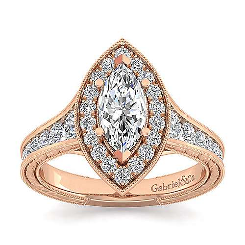 Vintage 14K Rose Gold Marquise Halo Diamond Engagement Ring