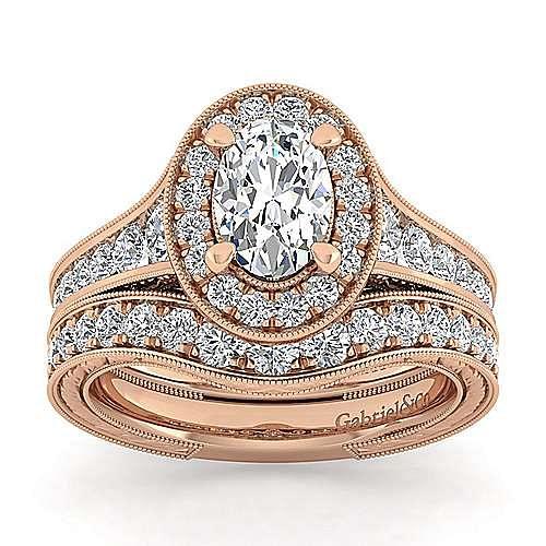 Vintage 14K Rose Gold Oval Halo Diamond Engagement Ring