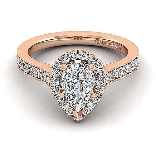 Vintage 14K Rose Gold Pear Shape Halo Diamond Engagement Ring ,  ER7278P4K44JJ