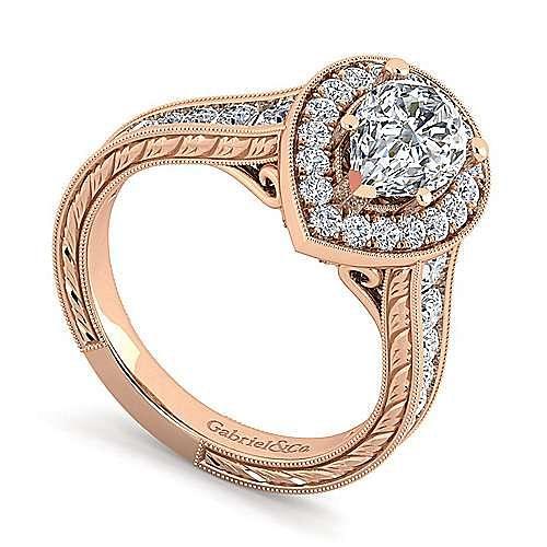 Vintage 14K Rose Gold Pear Shape Halo Diamond Engagement Ring