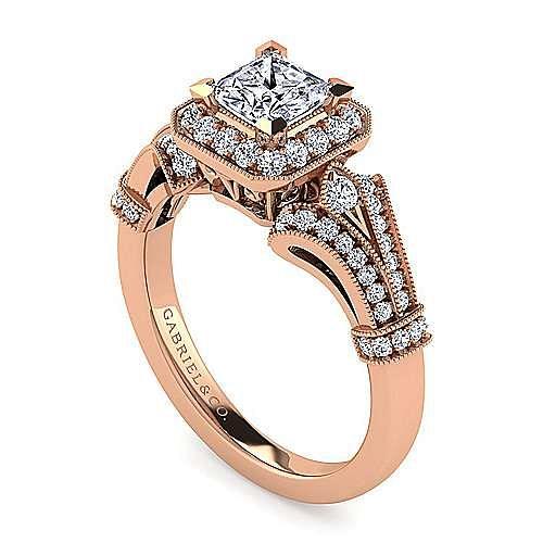 Vintage 14K Rose Gold Princess Halo Diamond Engagement Ring