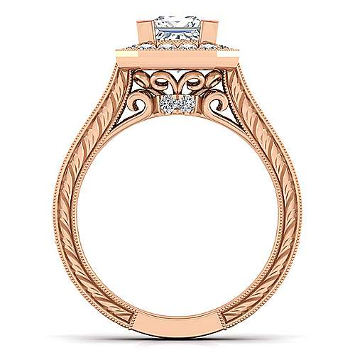 Vintage 14K Rose Gold Princess Halo Diamond Engagement Ring