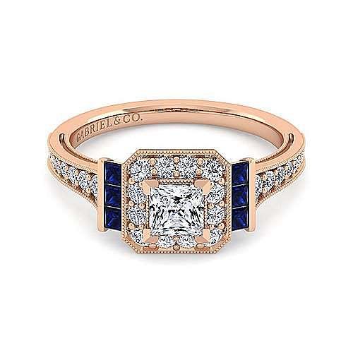 Vintage 14K Rose Gold Princess Halo Diamond and Sapphire Engagement Ring