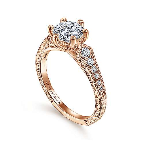 Vintage 14K Rose Gold Round Diamond Engagement Ring