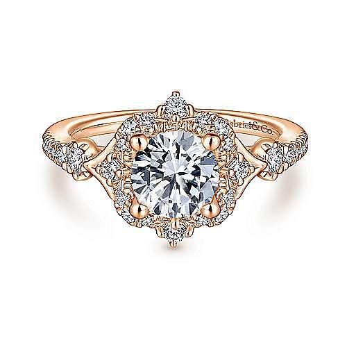 Vintage 14K Rose Gold Round Halo Diamond Engagement Ring
