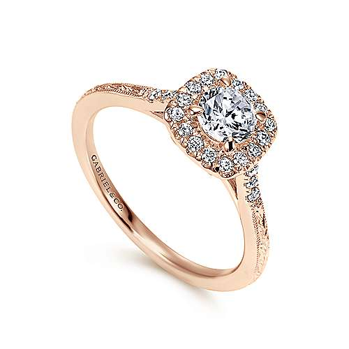 Vintage 14K Rose Gold Round Halo Diamond Engagement Ring