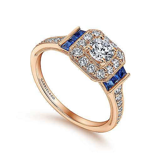 Vintage 14K Rose Gold Round Halo Diamond and Sapphire Engagement Ring
