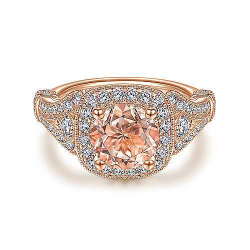 Vintage 14K Rose Gold Round Halo Morganite and Diamond Engagement Ring