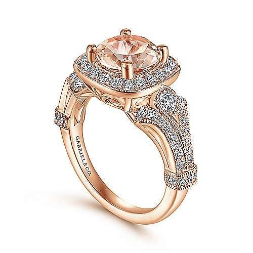 Vintage 14K Rose Gold Round Halo Morganite and Diamond Engagement Ring