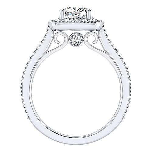 Vintage 14K White Gold Cushion Cut Diamond Engagement Ring