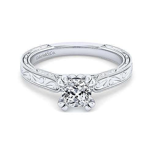 Vintage 14k White Gold Cushion Cut Diamond Engagement Ring Er8845c4w44jj