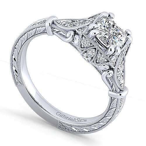 Vintage 14K White Gold Cushion Halo Diamond Engagement Ring