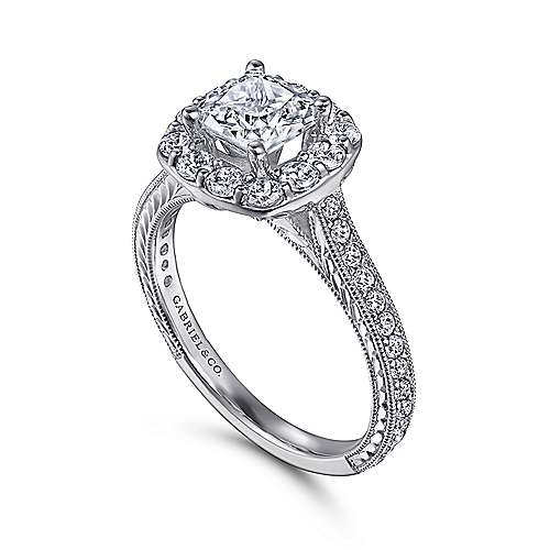 Vintage 14K White Gold Cushion Halo Diamond Engagement Ring