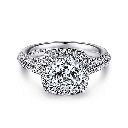 1bd2cc301f1 Vintage 14K White Gold Cushion Halo Diamond Engagement Ring - ER8872W44JJ
