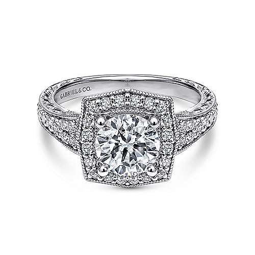 Gabriel - Vintage 14K White Gold Cushion Halo Round Diamond Engagement Ring