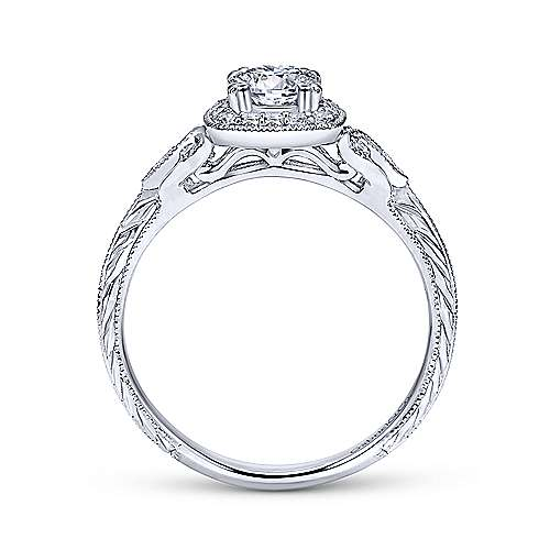 Vintage 14K White Gold Cushion Halo Round Diamond Engagement Ring