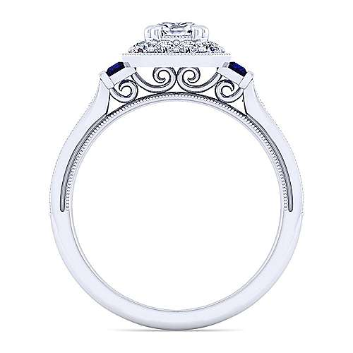 Vintage 14K White Gold Cushion Halo Sapphire and Diamond Engagement Ring