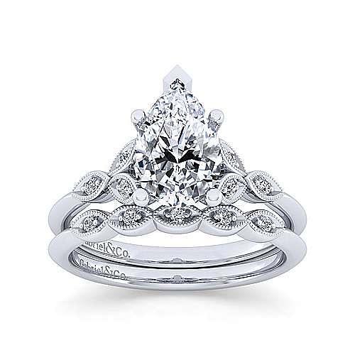 Vintage 14K White Gold Diamond Matching Wedding Band