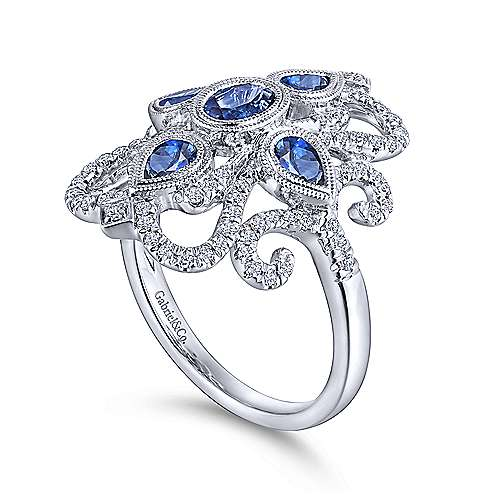 Vintage 14K White Gold Dramatic Sapphire and Pavé Diamond Ring