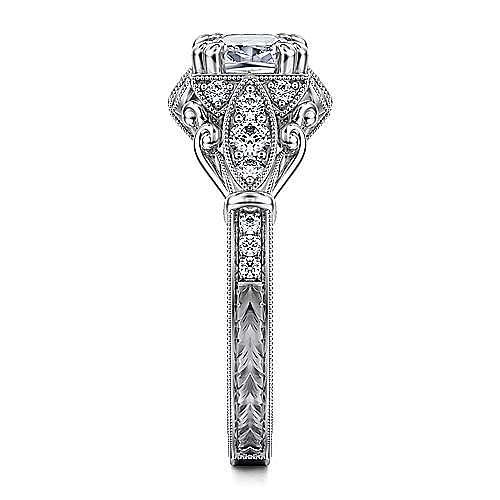 Vintage 14K White Gold Fancy Halo Cushion Cut Diamond Engagement Ring