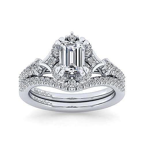 Vintage 14K White Gold Fancy Halo Emerald Cut Diamond Engagement Ring