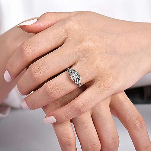 Vintage 14K White Gold Fancy Halo Round Diamond Engagement Ring