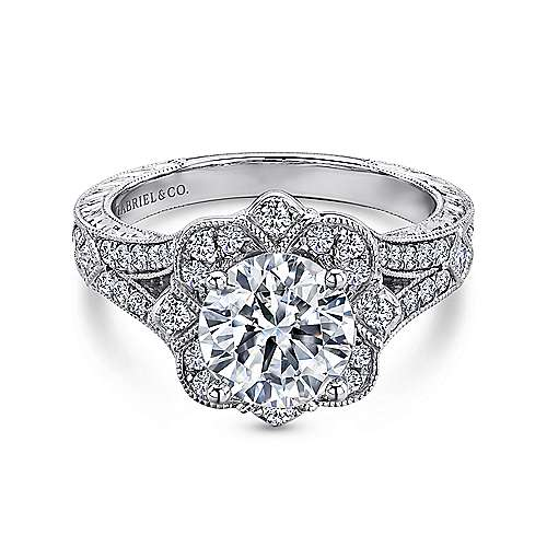Vintage 14K White Gold Fancy Halo Round Diamond Engagement Ring
