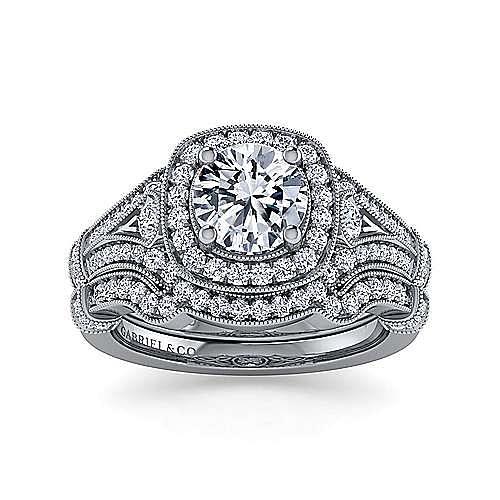 Vintage 14K White Gold Halo Cushion Halo Round  Diamond Engagement Ring