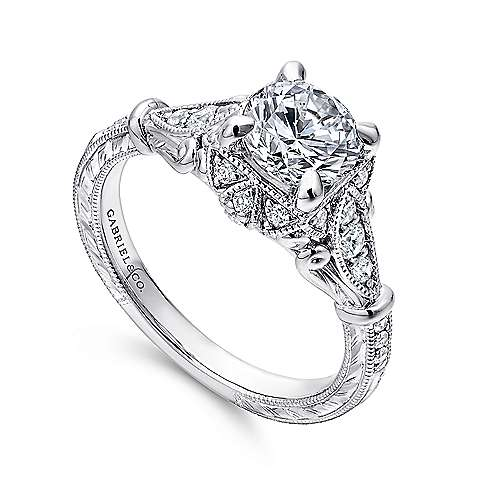 Vintage 14K White Gold Halo Diamond Engagement Ring
