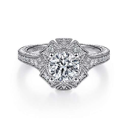Gabriel - Vintage 14K White Gold Halo Diamond Engagement Ring