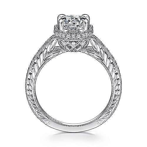 Vintage 14K White Gold Hidden Halo Round Diamond Engagement Ring