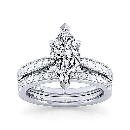 Vintage 14K White Gold Marquise Shape Diamond Engagement Ring