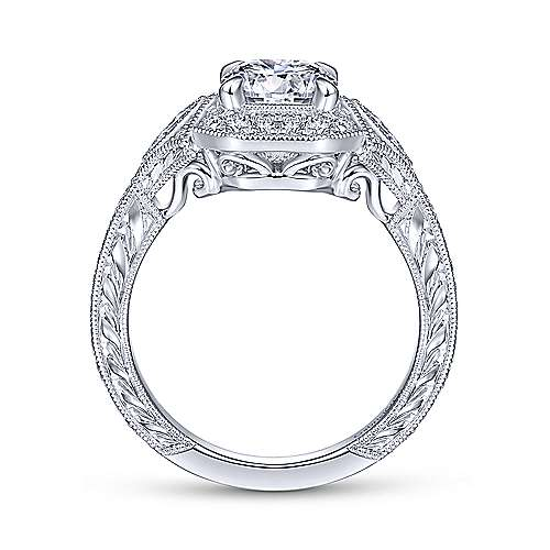 Vintage 14K White Gold Octagonal Halo Round Diamond Engagement Ring