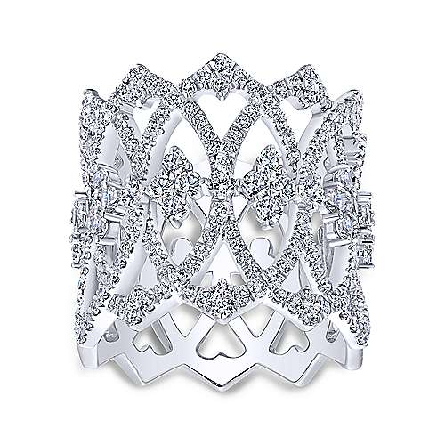 Vintage 14K White Gold Openwork Twisted Diamond Ring