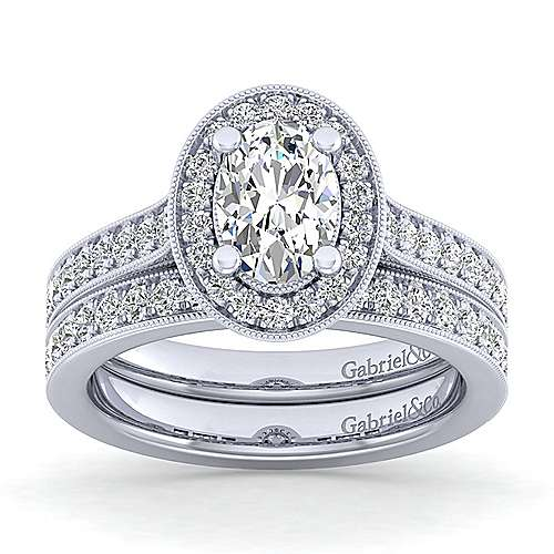 Vintage 14K White Gold Oval Halo Diamond Engagement Ring