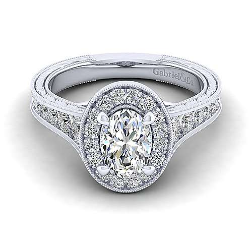 Vintage 14K White Gold Oval Halo Diamond Engagement Ring