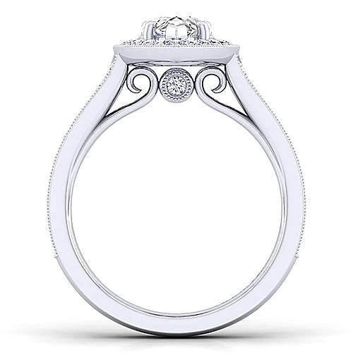Vintage 14K White Gold Pear Shape Halo Diamond Engagement Ring
