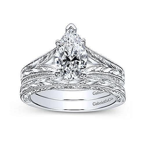 Vintage 14K White Gold Pear Shape Split Shank Diamond Engagement Ring