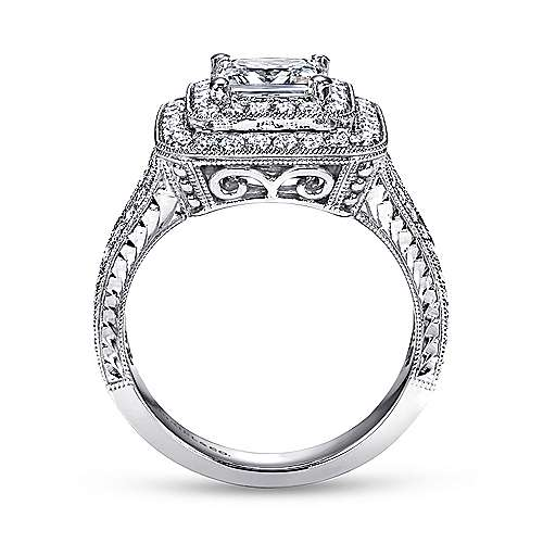 Vintage 14K White Gold Princess Double Halo Diamond Engagement Ring