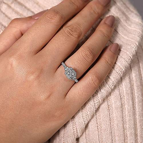Vintage 14K White Gold Princess Halo Diamond Engagement Ring