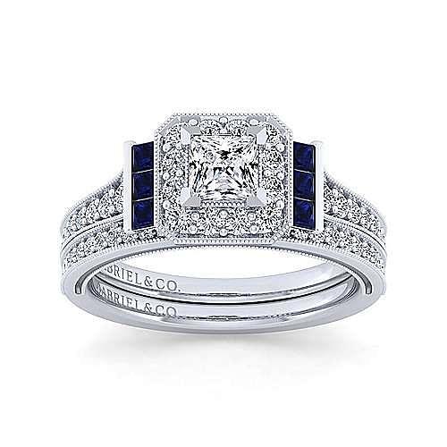 Vintage 14K White Gold Princess Halo Sapphire and Diamond Engagement Ring