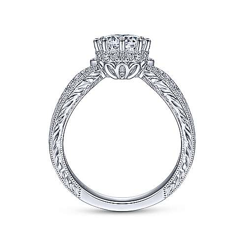 Vintage 14K White Gold Round Curved Diamond Engagement Ring