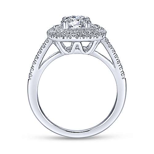 Vintage 14K White Gold Round Double Halo Diamond Engagement Ring