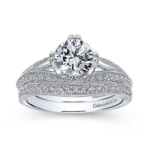 Vintage 14K White Gold Round Split Shank Diamond Engagement Ring