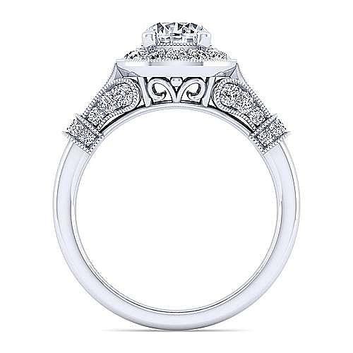 Vintage 14K White Gold Round Three Stone Diamond Engagement Ring