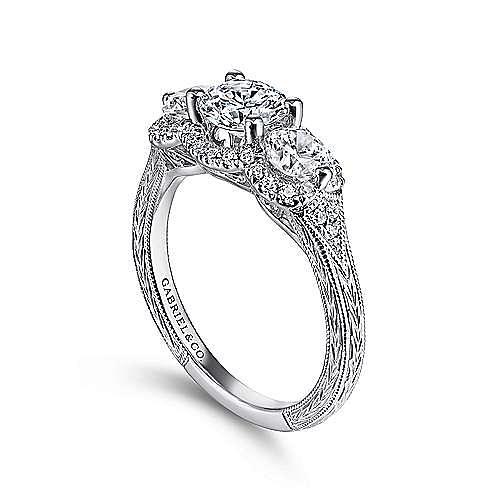 Vintage 14K White Gold Round Three Stone Halo Diamond Engagement Ring