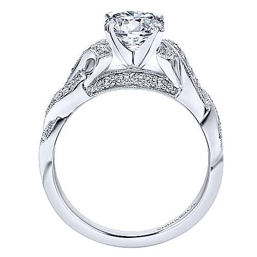 Vintage 14K White Gold Round Twisted Diamond Engagement Ring